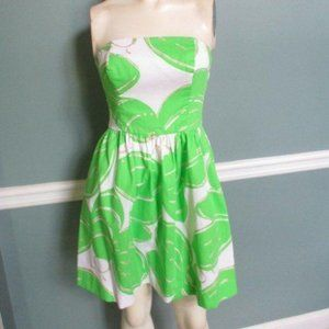 Lilly Pulitzer Green White Gold Strapless Dress 00